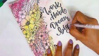 WATERCOLOR PAINTING IDEAS + LETTERING for Beginners / DIY GREETING CARDS| Doodle Art
