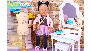 Play American Girl & Our Generation Baby Dolls dress up and hairstyle DYY for Movie night & Popcorn!
