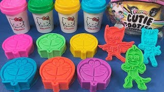 Learn Colors And Numbers Play Doh With PJ Masks Molds - Cutie Pets Gaint Surprise Toys For Kids