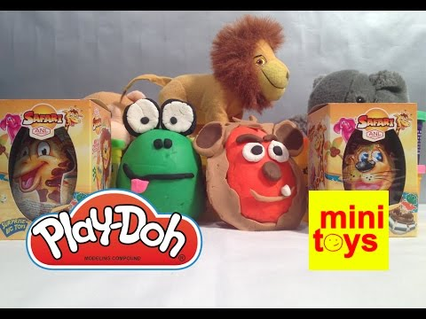 Safari Animals Play Doh Surprise Eggs Mini Toys