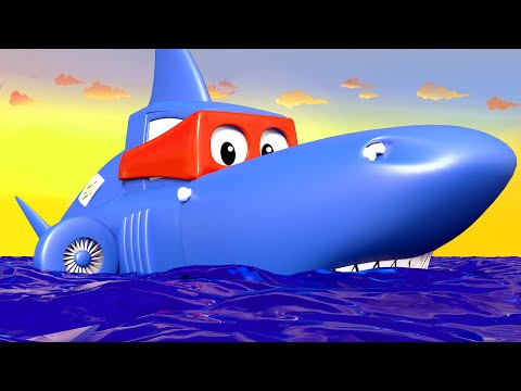 Carl the Super Truck -  The SHARK TRUCK - Car City & Monster Town ! Cars and Trucks Cartoon for kids