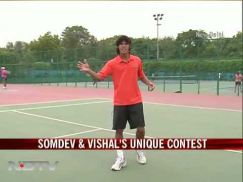Somdev's soccer tennis contest