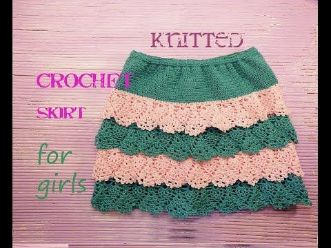 Вязанные крючком юбки для девочек для начинающих