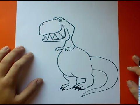 Como dibujar un dinosaurio paso a paso   How to draw a dinosaur