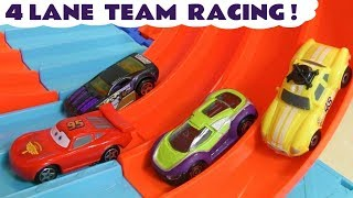 Hot Wheels Cars Learn Colors Team Race with Pixar McQueen Ace and Marvel Avengers 4 Superheroes