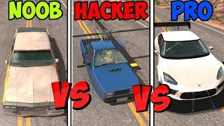 BeamNG Drive - Noob VS Pro Vs Hacker #2 (Crashes & Stunts)