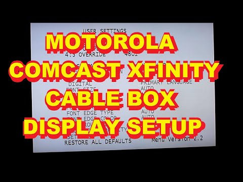 Motorola Comcast Xfinity HD Cable Box Setup Adjust Menu