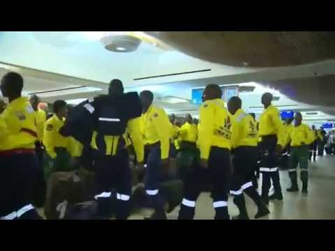 Raw: South African Firefighters Sing in Canada