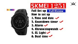 Review SKMEI 1251 full set up alarm, countdown, stopwatch
