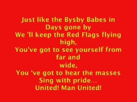 Glory glory Man United with lyrics