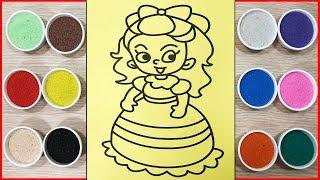 Đồ chơi trẻ em TÔ MÀU TRANH CÁT CÔNG CHÚA MAICA - Colored sand painting princess toys (Chim Xinh)