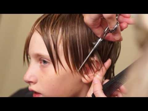 Boys Medium Length Side Swept Hair Cut Done 95% with a Razor