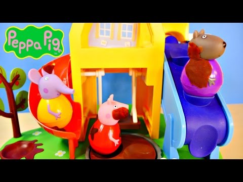 Peppa Pig Wind & Wobble Playhouse Play Doh Muddy Puddles Weebles Toy Playset