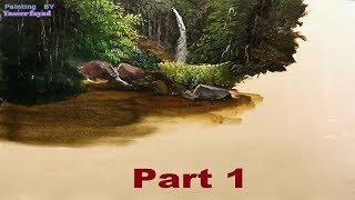Oil Painting Tropical Landscape  With Rocks  By Yasser Fayad Part 1