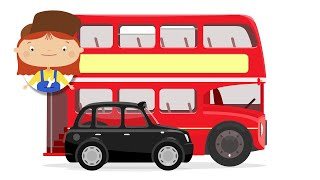 Kids Animation. Trip to London on a red bus