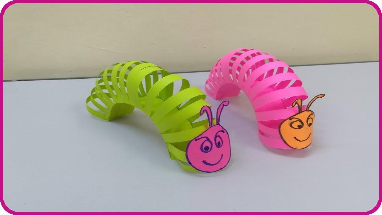عمل دودة من الورق للاطفال - صنع دودة بالورق - اشغال يدوية
