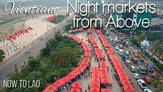 Vientiane Night Markets Laos - Mekong Riverside Sunset drone footage Vientiane Laos Now to Lao Vlog