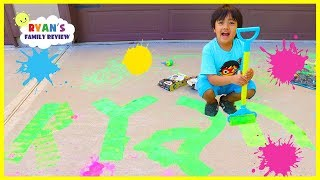 Ryan Chalk Painting Messy Fun!!!