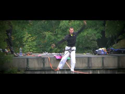 Lonely pillars - Slackline over Radbuza river, Pilsen