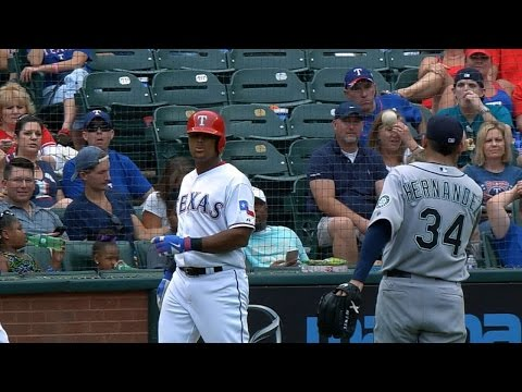 Felix throws ball back to Beltre after liner