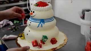 How to design a snow man for the Holiday Party - Making of Snow Man Cake