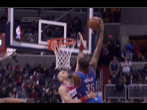 Kevin Durant poster dunk on Marcin Gortat: Oklahoma City Thunder at Washington Wizards