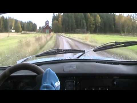 Saab 96 V4 Rally on special stage, incar video