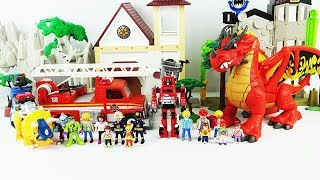 Red dragon sets fire. Fire fighting transformer rescue robot toy. Fight the dinosaurs. chomp squad