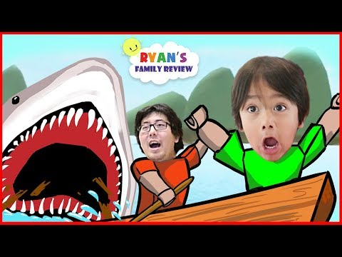 ROBLOX Shark Bite! Let's Play with Ryan's Family Review!