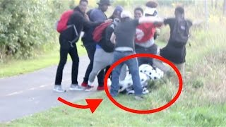 Killer Clown STOMPED on by 7 guys | Halloween Scare prank Gone WRONG