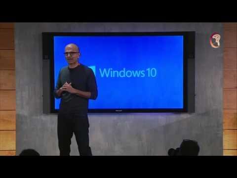 Satya Nadella at Windows 10 launch event 2015