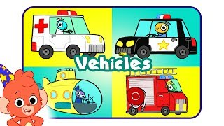 Learn Vehicles | cartoon TRUCKS and CARS for kids | police car ambulance | Club Baboo