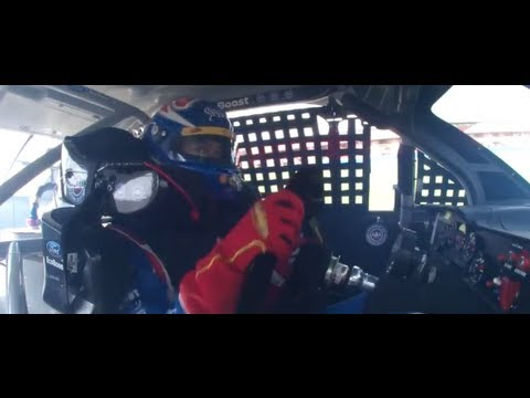Joey Logano in car footage NASCAR Auto Club 400