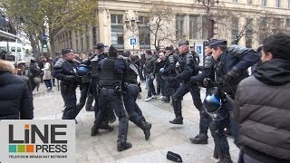Dieudonné au tribunal. Incidents entre ses partisans et la LDJ / Paris - France 28 novembre 2013