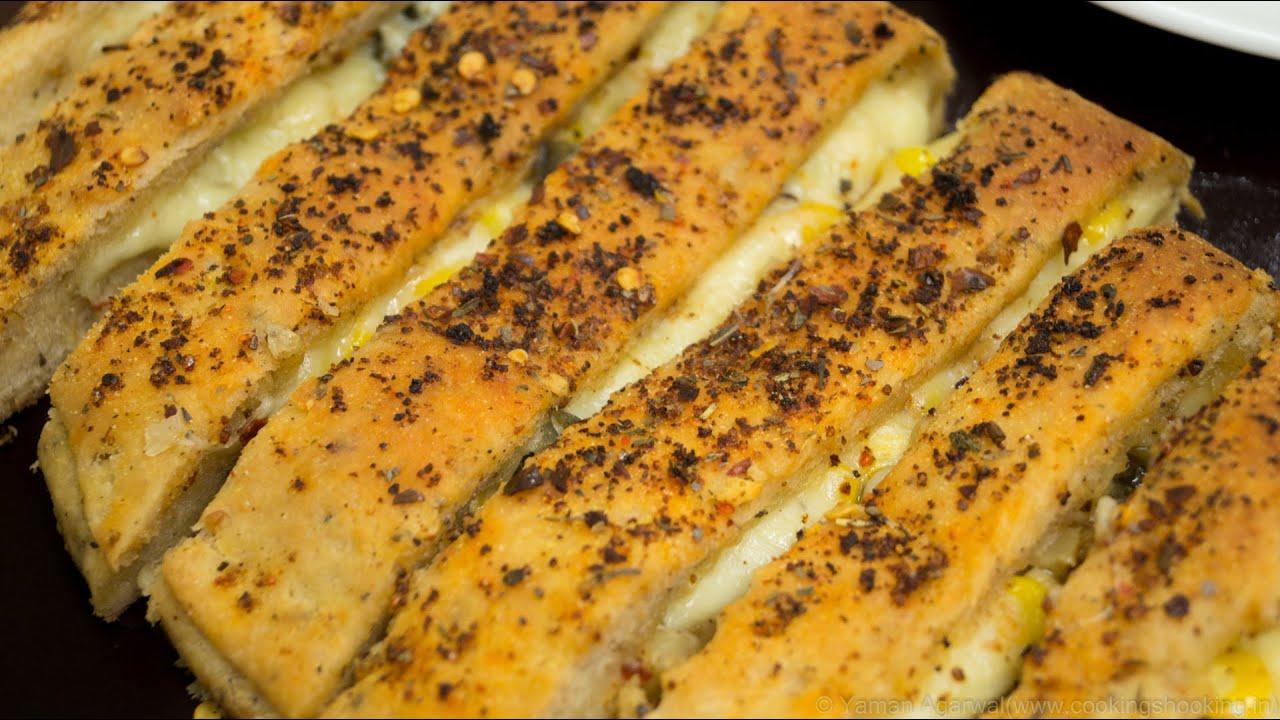 Cheesy Garlic Bread Sticks Recipe / Stuffed Garlic Bread Sticks ...