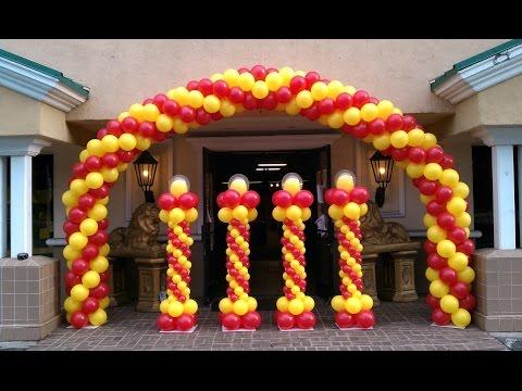How to make a balloon arch balloon decoration ideas 3gp for Balloon decoration ideas youtube
