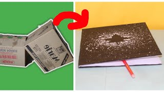 best out of waste cardboard : how to make a notebook for school, diy craft, crafty by Khorimati