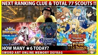 Next Ranking Clue & Total 77 Scouts Anime Release Campaign (SAOMD Memory Defrag)