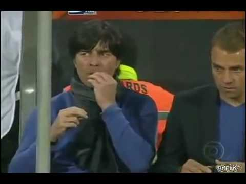 Joachim Low (german football coach) eating snot during World Cup game