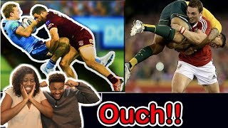 AMERICANS REACT TO RUGBY BIGGEST HITS!!