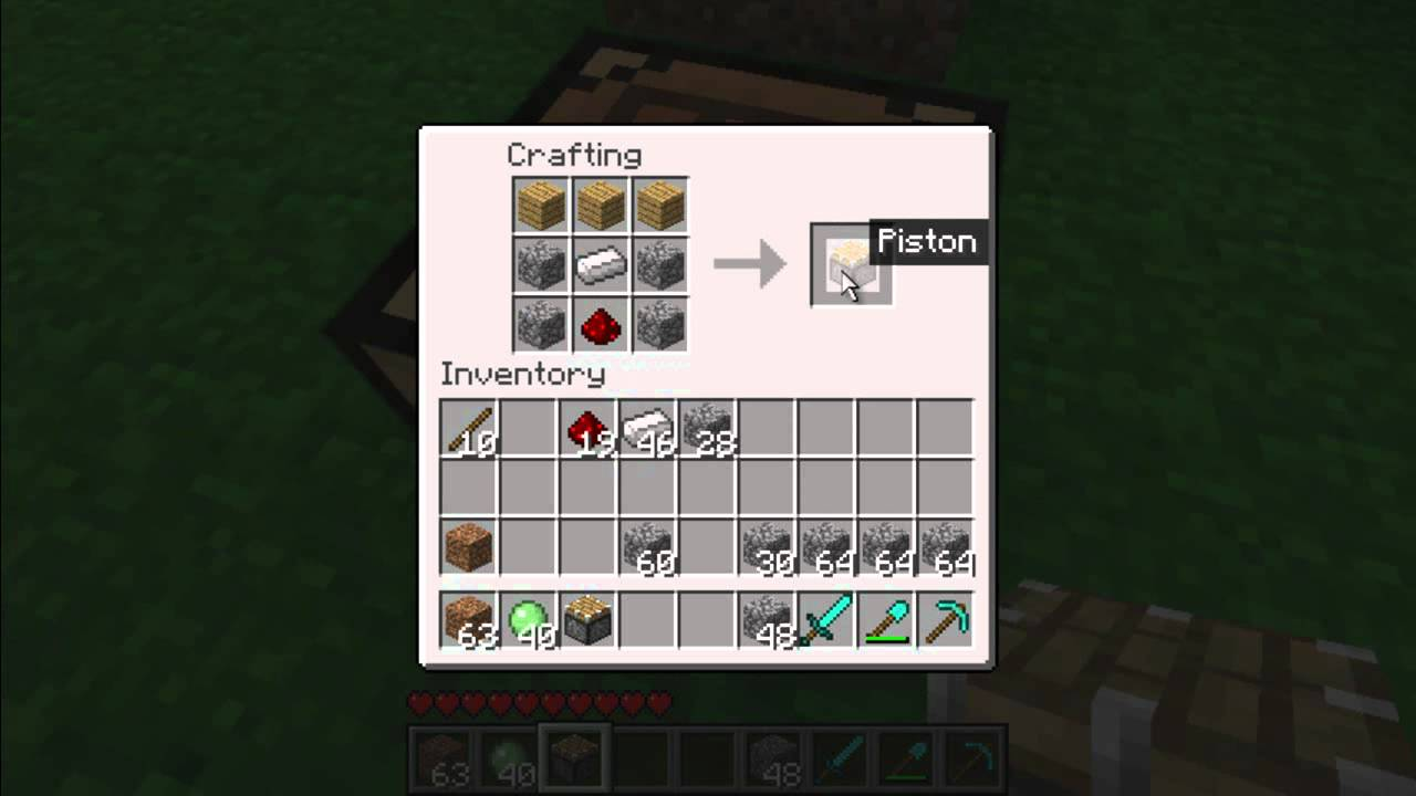 minecraft how to make pistons youtube