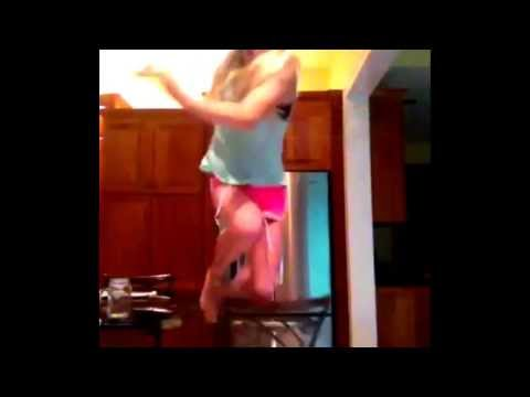Fat girl falling off the table
