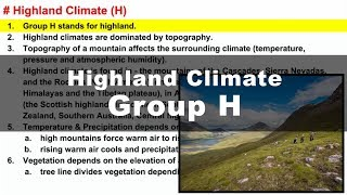 Koppen Scheme - Highland Climate (H) | UPSC IAS Geography