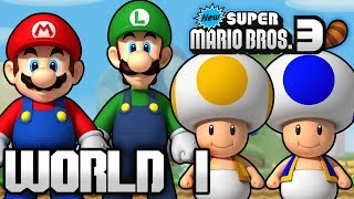 New Super Mario Bros. 3+ Part 1 - World 1 (4 Player)