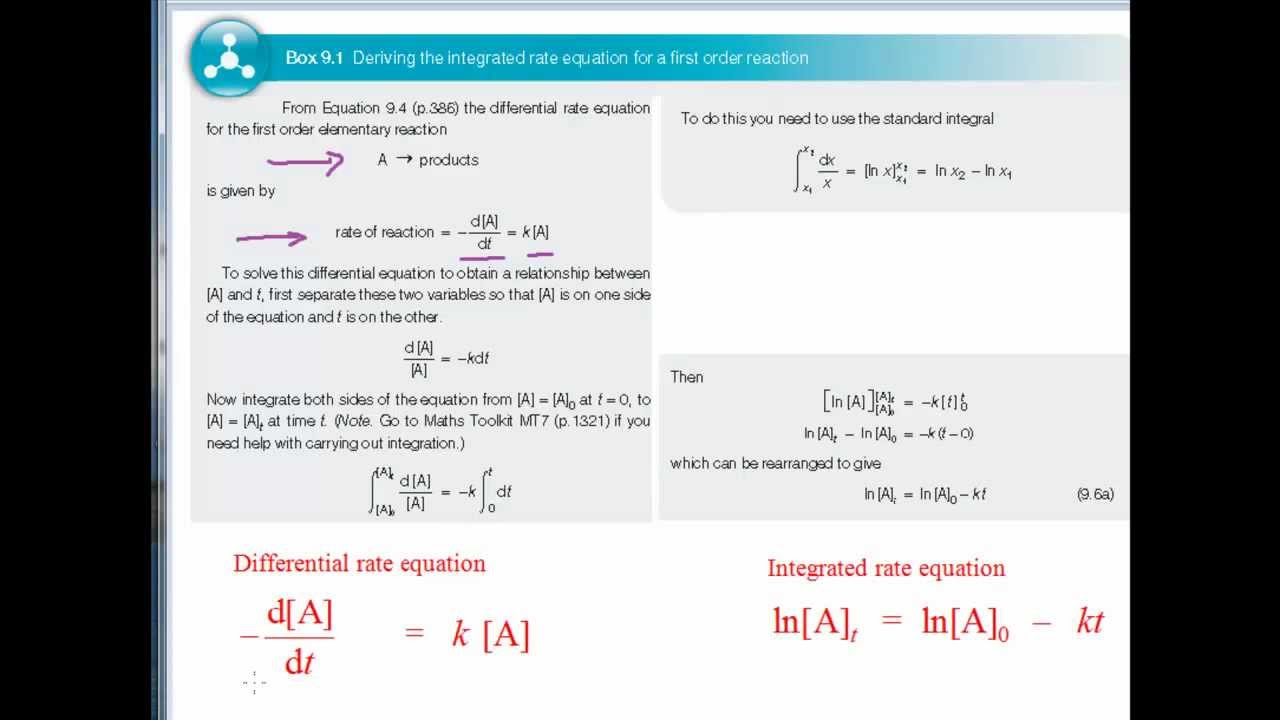 Equation Integral Integrated Rate Equations