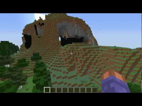 Awesome mountain, extreme hills formation over hangs Minecraft seed 1.6.2