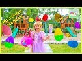 Easter Egg Hunt Surprise Toys Challenge for Kids on the Playground with Hailey as Princess Rapunzel