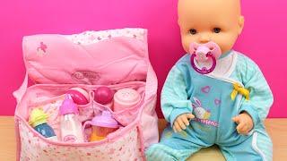 Bolso Cambiador para la bebé   La muñeca Bebé Nenuco come papilla, hace pipí y le cambio el pañal