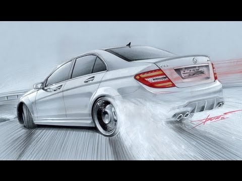 Mercedes C63 Amg Drift Drawing By Adonis Alcici Youtube