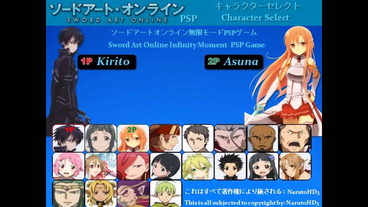 Sword Art Online Infinity Moment Psp Game Roster Fanmade By Narutohd3 English Amp Japanese